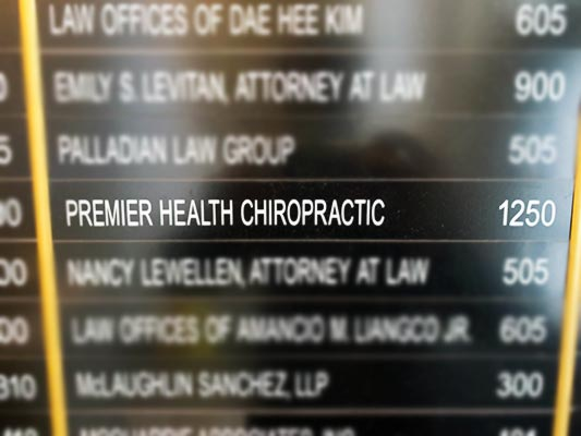 Chiropractic San Francisco CA Market Street Building Directory Close Up